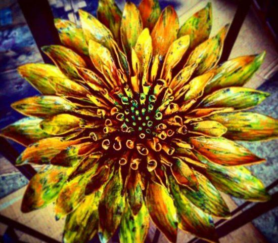 向日葵のロートアイアンオブジェのアップ写真