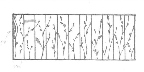 葉をモチーフにしたロートアイアン門扉(引き戸)デザインのスケッチ
