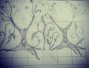 アイアンフェンス木のデザイン