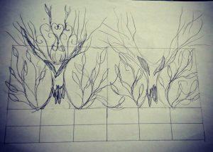 アイアンフェンス木のデザイン部分