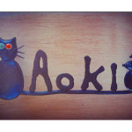 猫とネズミのロートアイアン表札。